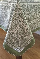 Anokhi Soft Green Floral Tablecloth, 60 X 90