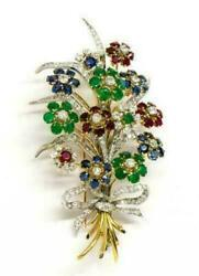 Antique 10k Yellow Gold Over French Diamond Ruby Emerald Sapphire Brooch Pin