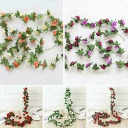 2.5M 45 Head Artificial Rose Vine Hanging Flowers For Wall Plants DIY