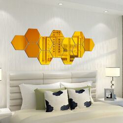 hexagon mirror wall sticker decor removable room decals living room wall sticker