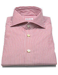 Kiton Shirt In Red Striped With Shark Collar Reg
