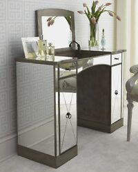 Horchow Vanity French Modern Silver Antique Mirror Makeup Table Desk 2300