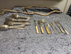 Job Lot Of Mixed Antique Vintage Silver Plated Cutlery Items And Implements