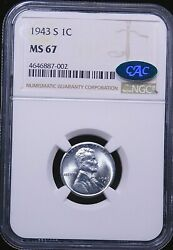 1943-s Lincoln Steel Cent Ngc Ms67 Cac Bright With Gorgeous Luster, Ppq Ge446