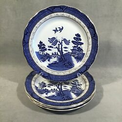 Pv06394 Vintage Royal Doulton Majestic Booth Real Old Willow Salad Plate X4