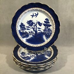 Pv06395 Antique Boothand039s Real Old Willow Dinner Plate X6