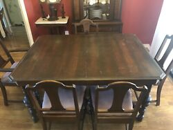 Antique Royal Mantel And Furniture Set Dining Table, Chairs, Hutch, China Cabinet