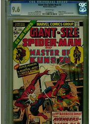 Giant Size Spider-man 2 Cgc 9.6 Near Mint+ Off White Master Of Kung Fu 1974