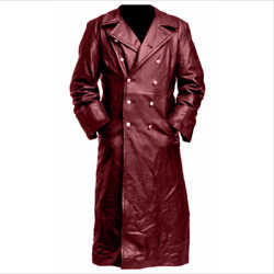Menand039s Lapel Double Breasted Classic Faux Leather Overcoat German Trench Coat