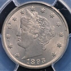 1893 Liberty Nickel Pcgs Ms 63 Soft Silvery Pewter Nice Strike And Luster