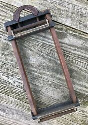 Rare Antique 1921 Chitarra Wooden And Cast Iron Metal Double Sided Pasta Cutter