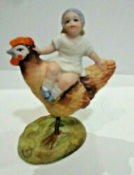 Antique German Bisque Nodder Girl On Rooster With Spring Legs