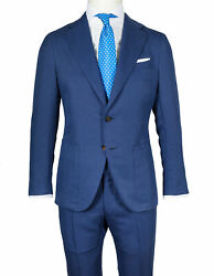 Caruso Suit In Blue From Cotton/canvas/silk Reg