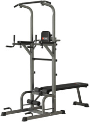 Power Tower Pull Up Bar Dip Station Home Gym Strength Training With Bench 400 Lb