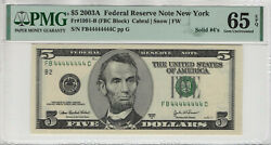 2003a 5 Federal Reserve Note Solid Serial 44444444 Fr 1991-b Pmg Gem Unc 65 Epq