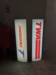 Twa Airlines Sign And Piedmont Airlines Airport Sign Extremely Rare