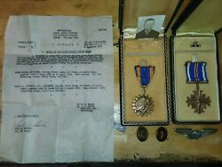 Wwii Us Army Ac Distinguished Flying Cross With Pin And Air Medal Lot Signed