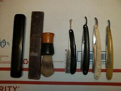 Nice Clean Antique Lot Of Straight Razors And Original Box