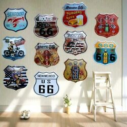 Route 66 Seafood Burgers Beer Bar Coffee Metal Tin Signs Advertising Board Pub