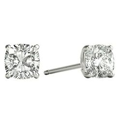 Cushion Cut Diamond 4-claw Solitaire Pair Stud Earrings 0.80ct Gia Certified Vs