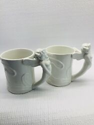Vintage Art Deco Style Winged Fairy Handle Coffee Cup White