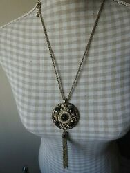 N695 Goldtone Chain Ornate Disc Pendant Necklace With Tassel 22 + 6 Pendant