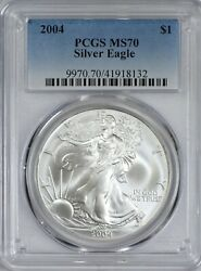 2004 American Silver Eagle Pcgs Ms70 - Silky Luster - Spot And Problem Free