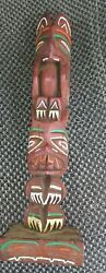 Vintage 13 in Multi Colored Carved Thunderbird Wood Totem Pole $44.99
