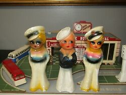Vintage Chalkware Sailor Boy And Girl Carnival Prizes Statues Lot Of 3