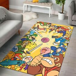 Super Mario Bros Nintendo Switch Gaming Collection Area Rugs Living Room Carpet