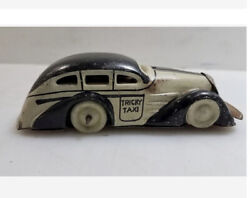 Vintage Marx Toys Tin Tricky Taxi Wind Up Car Working No Key Black And White