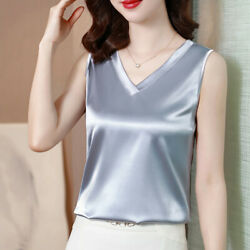 Summer Womens Tank Top Sleeveless Ladies Satin Casual T Shirts Blouses Plus Size