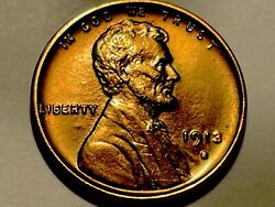 1913-s Lincoln Cent Penny  Gem Bu Red