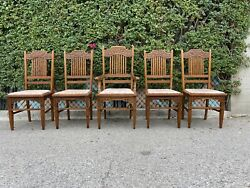 Antique Mission Style Oak Set Of 5 Dining Chairs Early American