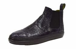 Tardini Menand039s Alligator Ankle Boot Dark Navy Sz 9 A10419at