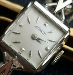 Vintage Lecoultre Ladies Pie Pan 14kt White Goldnew Movement And Just Erviced.