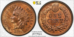 1870 1c Indian Head Cent Pcgs Ms 64 Rb Uncirculated Red Brown Key Date Tough