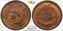 1872 1c Indian Head Cent Pcgs Ms 63 Rb Uncirculated Red Brown Minor Struck Th...