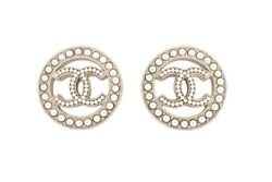 Authentic Gold Cc Logo Sold Out Pearl Crystal Hoop Studs Earrings