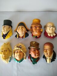 Bossons 1960s Charles Dickens Chalkware England Characters Lot Of 8 Scrooge