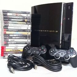 Sony Playstation 3 Ps3 Cecha01 Ps2 Backwards Compatible+ 2 Controllers+ 19 Games