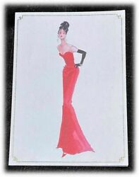 Vintage Graphique Robert Best Barbie Red Evening Gown Blank Card $9.99