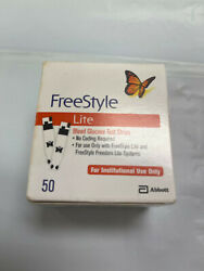 50 Freestyle Lite Blood Glucose Test Strips Exp 2/22 See Desc Free Shipping