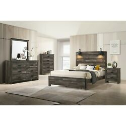 Contemporary Rustic Finish Queen Size 5pc Bedroom Set Bed Dresser Mirror Ns
