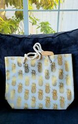 New Pineapple Metallic Foil Canvas Tote Beach Bag w. Rope Handles $6.25