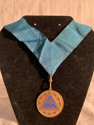 Vintage Gold And Blue Masonic Award Medal Rare First Army
