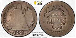 1885 S 10c Seated Liberty Dime Pcgs Ag 3 About Good Key Date Cac Approved