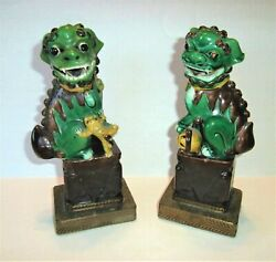 Antique Pair Of Qing Chinese 1800s Glazed Porcelain Foo Dogs Guardian Lions