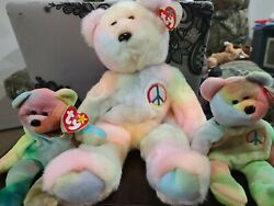 Bundle Of 3 Rare And Retired 1996 Peace Bear Ty Beanie Babies And Buddies