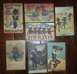 Lot Of 7 Vtg Antique Black African American Americana South Postcards New Unused